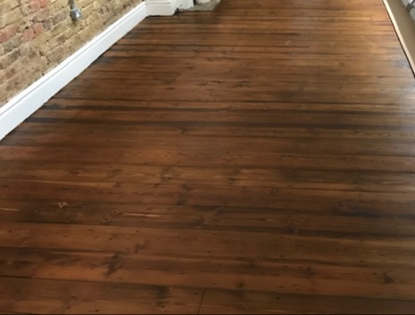 example of Commercial floor sanding and sealing with heavy load lacquer, Holland Park