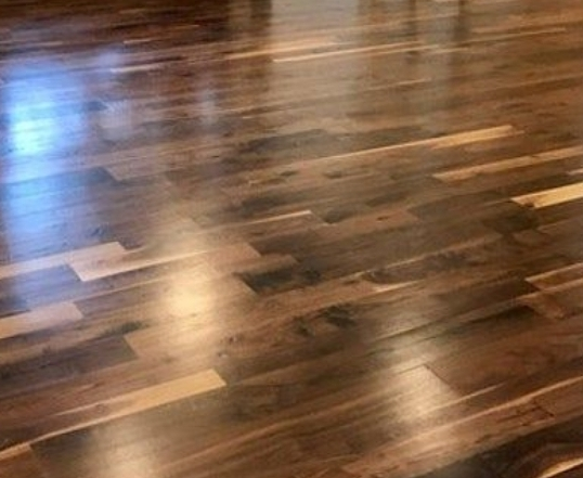 Before and after Solid wood floor restoration and polishing, Enfield