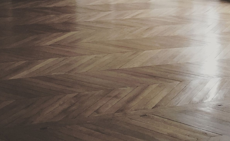 before and after Herringbone floor sanding and staining in a house, Highbury