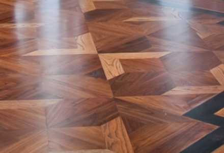 before and after Herringbone floor light sanding and finishing in a luxury house, Islington