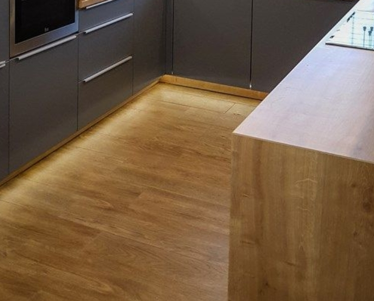 Kitchen floor repair and gap filling in apartment, Canary Wharf
