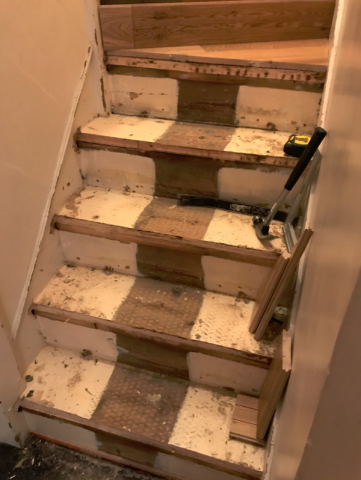 stairs sanding process